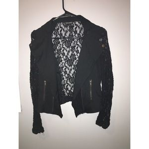 Wet Seal Black Long Sleeve Lace Jacket